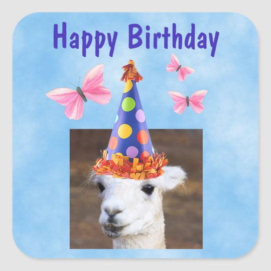 Party Hat Llama Birthday Square Sticker