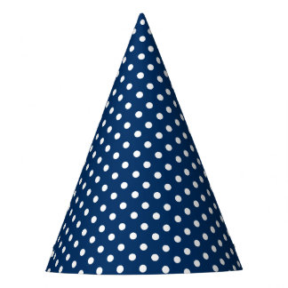 Party Hat with a blue and white dots pattern