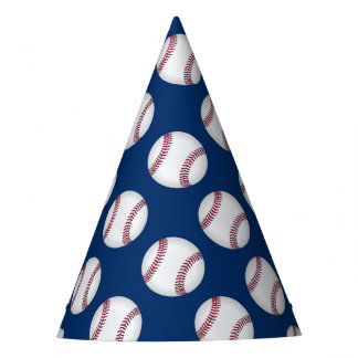 Party Hat with baseballs on blue