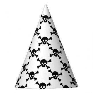 Party Hat with black skulls and cross bones