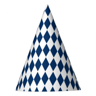 Party Hat with blue and white diamond pattern