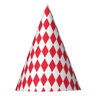 Party Hat with red and white diamond pattern
