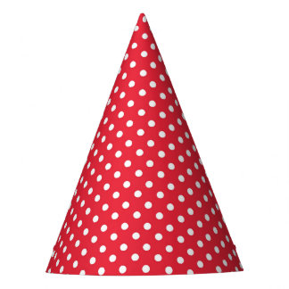 Party Hat with white dots on red