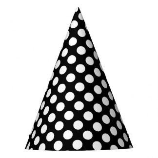 Party Hat with white polka dots on black