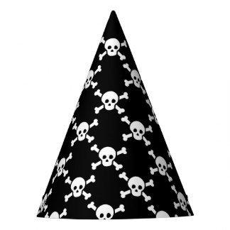 Party Hat with white skulls & cross bones on black