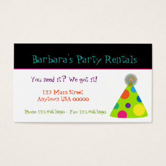 Party Hats Party Planner Business Card