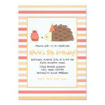 Party Hedgehog and Cupcake 13 Cm X 18 Cm Invitation Card