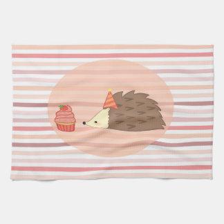 Party Hedgehog and Cupcake Tea Towel