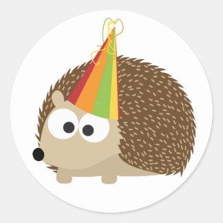 Party hedgehog classic round sticker