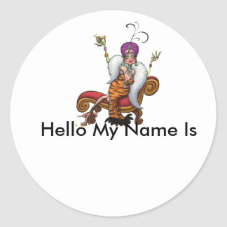 party, Hello My Name Is Round Sticker
