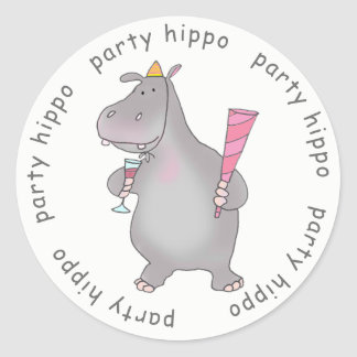 Party Hippo Classic Round Sticker
