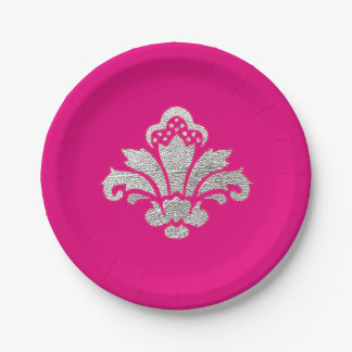 Party Hot Pink Silver Damask Pink Paper Plates 7 Inch Paper Plate