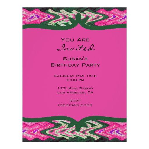 Party Invitaiton Bright green pink pattern Flyer Design