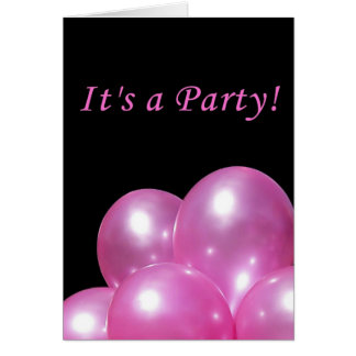 Party Invitation Bright Pink Balloons