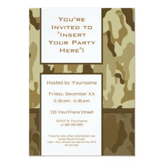 Party Invitation: Desert Tan Military Camouflage 13 Cm X 18 Cm Invitation Card