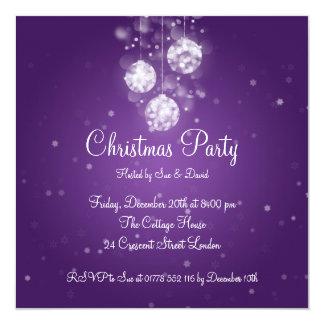 Party Invitation Elegant Sparkling Baubles Purple
