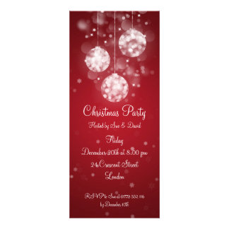 Party Invitation Elegant Sparkling Baubles Red Custom Announcements