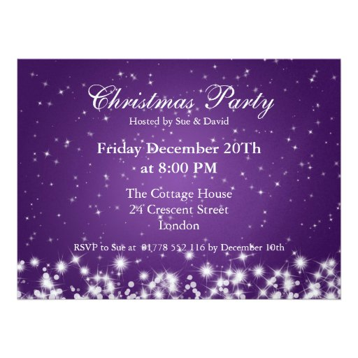 Party Invitation Elegant Winter Sparkle Purple Custom Invites