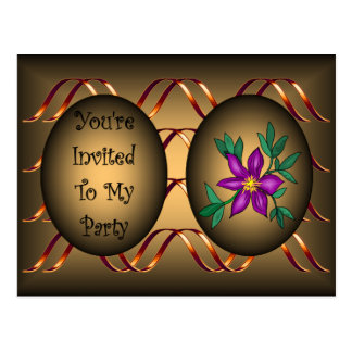 Party Invitation ~ Gold Ribbon ~ Purple Flower ~ Postcard