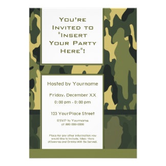 Party Invitation Green Military Camouflage