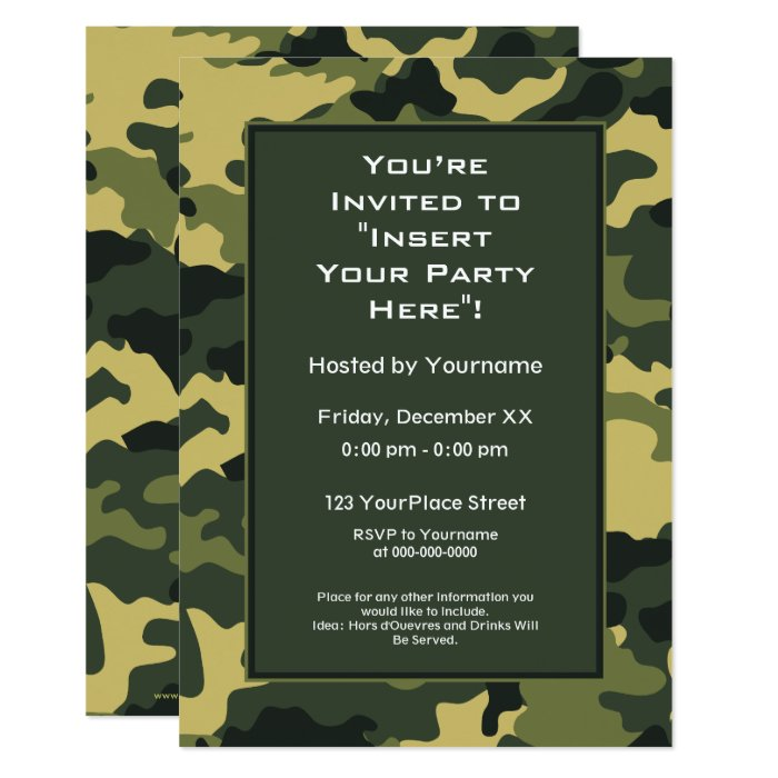 Party Invitation: Green Military Camouflage 13 Cm X 18 Cm Invitation Card