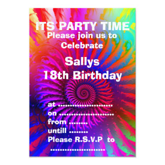Party Invitation - Psychedelic Fractal pink red pu