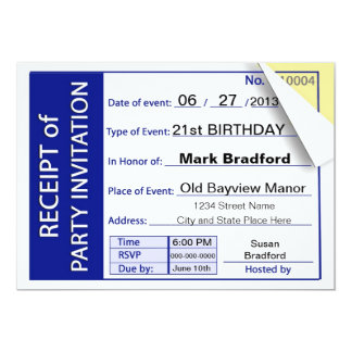PARTY INVITATION - RECEIPT - MULTI-PURPOSE CUSTOM INVITES