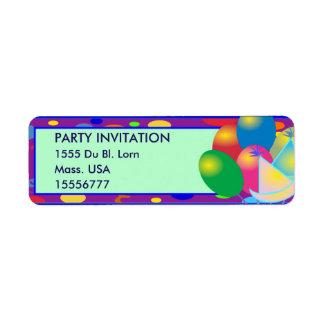 PARTY INVITATION Return Address Labels