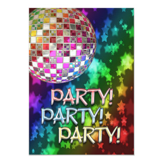 PARTY invitation with disco ball and rainbow of st