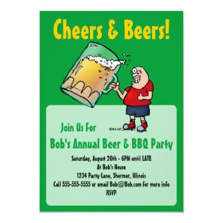 Party Invitation with Funny Cartoon Beer Guy