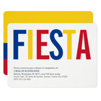 Party: Invitations: Colombia: Colombian Flag Card