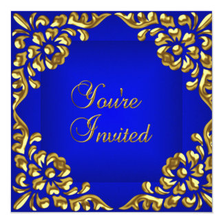 Party Invite Gold Royal Blue All Occasions