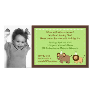 Party Jungle Animal Photo Birthday Invitations Photo Card Template