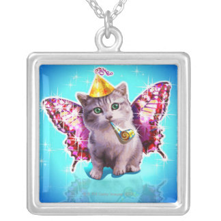 Party Kitten Square Pendant Necklace