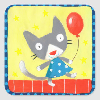 party kitten square sticker