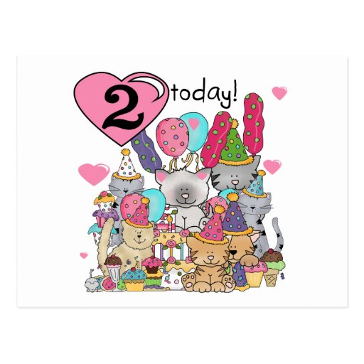 Party Kittens 2nd Birthday T-shirts and Gifts Post Cards