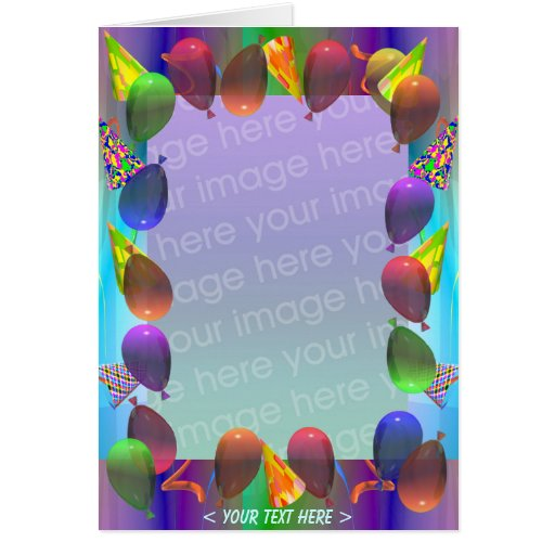 Party Life Birthday (photo frame) Greeting Cards