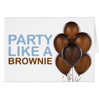 Party Like A Brownie Birthday Card (Blue)