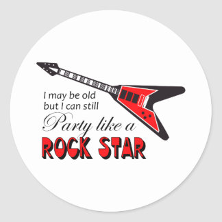 PARTY LIKE A ROCK STAR ROUND STICKERS