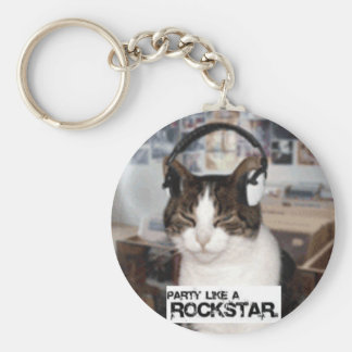 Party Like a Rockstar Basic Round Button Key Ring