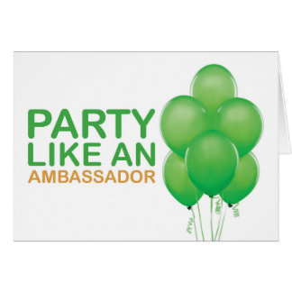 Party Like An Ambassador Birthday Card (Green)