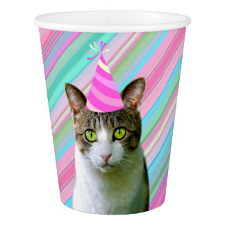 Party Like an Animal Cat With Party Hat Birthday Paper Cup