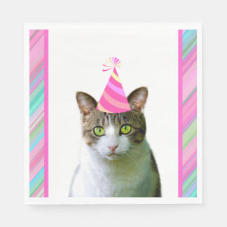 Party Like an Animal Cat With Party Hat Birthday Paper Napkin