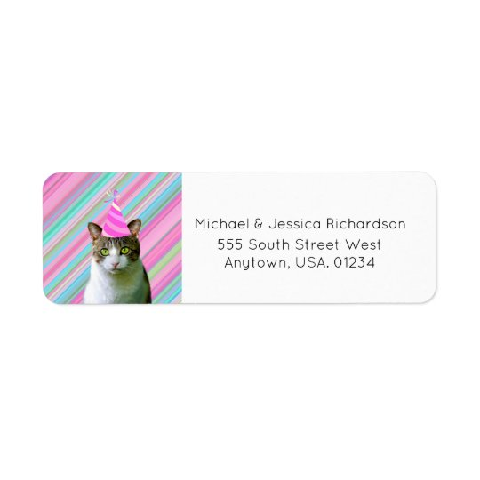 Party Like an Animal Cat With Party Hat Birthday Return Address Label
