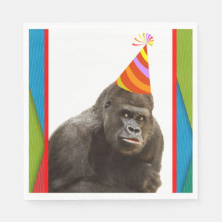 Party Like An Animal Gorilla With Hat Birthday Disposable Serviette