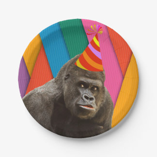 Party Like An Animal Gorilla With Hat Birthday Paper Plate