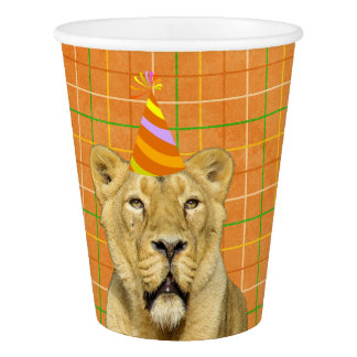 Party Like An Animal Lion With Hat Birthday Paper Cup