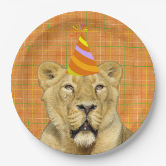 Party Like An Animal Lion With Hat Birthday Paper Plate