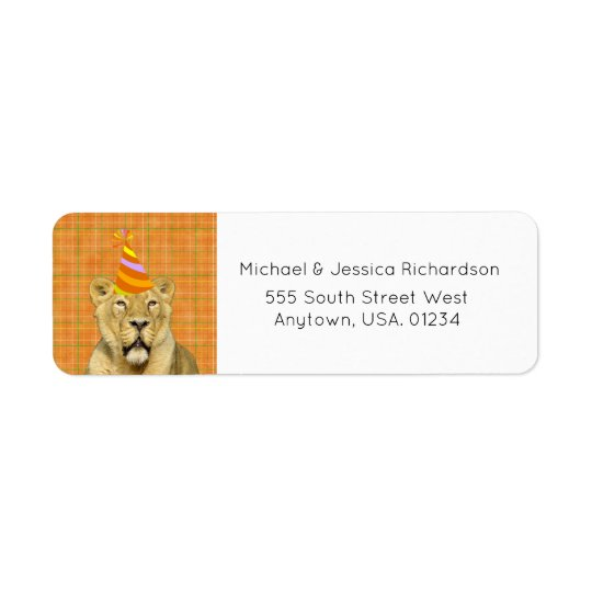 Party Like An Animal Lion With Hat Birthday Return Address Label