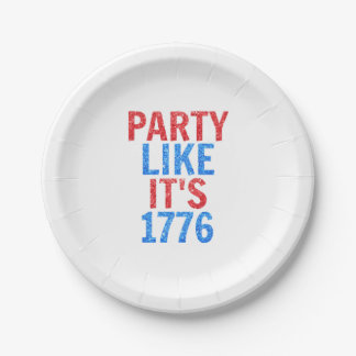 Party Like It's 1776 // July 4th Glitter Text 7 Inch Paper Plate
